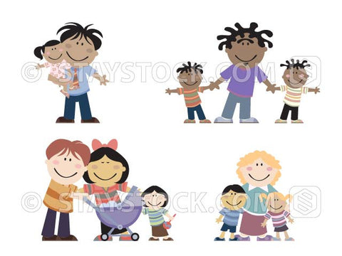 Four cartoon groups of parents and children.