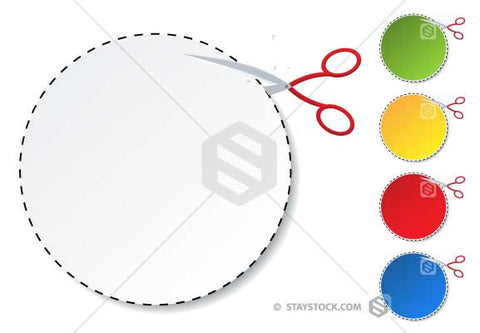 Scissors cutting out a circle coupon.