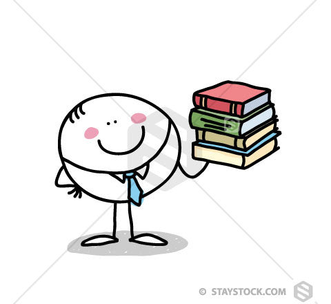 A circle person cartoon character holding a stack of books.
