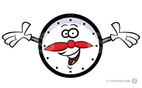 A Clock cartoon featuring a face and hands.