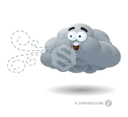 A cartoon cloud character blowing wind.