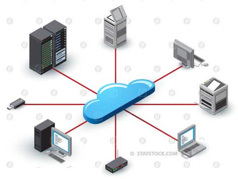 Cloud Networking technology devices networked in isometric style.