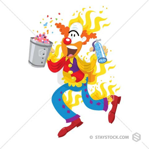 001Clown on fire - StayStock