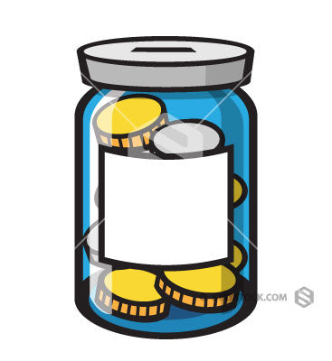 A cartoon coin jar clipart.