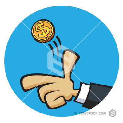 Cartoon hand tosses a coin.