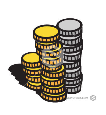 gold and silver coins clipart