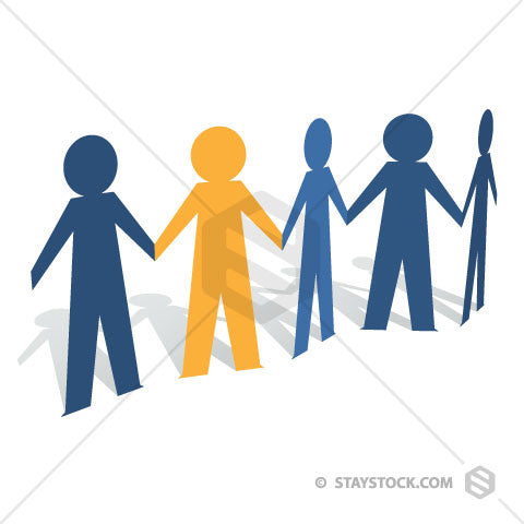 A group of blue Paper People holding hands with one standing out in yellow.