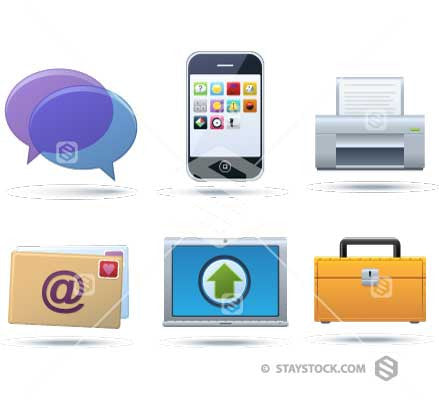 A set of communication icons.