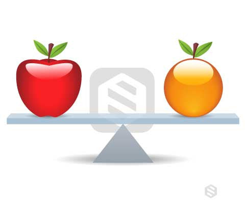 An Apple and Orange on either side of a seesaw.