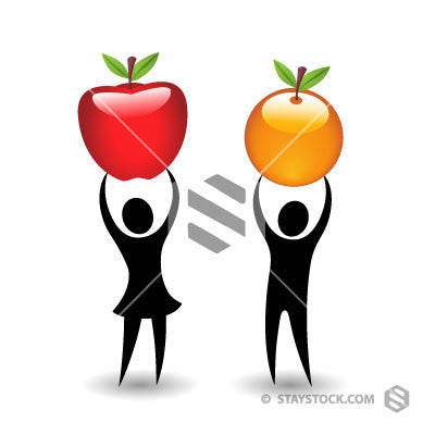 Two black figures compare apples and oranges.