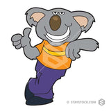 A cartoon illustration of a Cool Koala, dressed in clothes giving the thumbs up.- StayStock