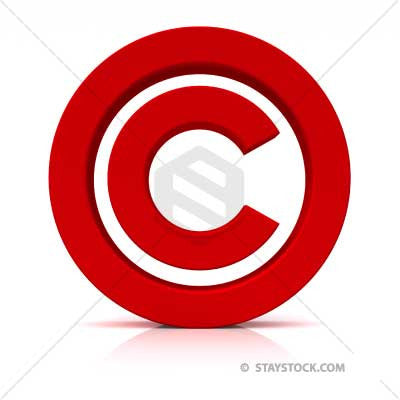 Red Copyright symbol sitting on white floor.