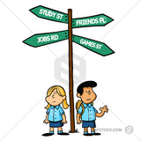 Two cartoon school children standing under a crossroad sign making life decisions.