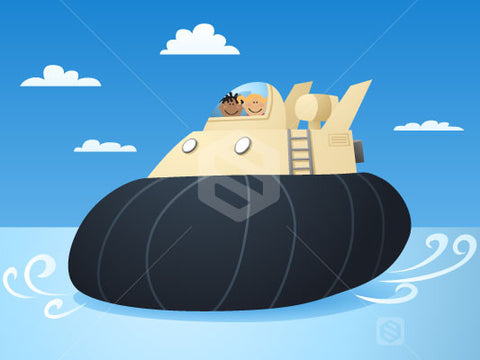 Two cute kids ridding in a giant Cute Hovercraft.