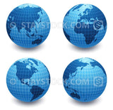 Four views of a blue detailed world globe on white background.