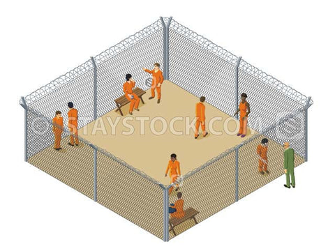 An isometric detention camp showing inmates within a barbed wire fence compound.
