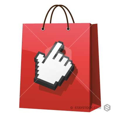 Digital hand cursor touching a Shopping Bag