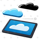 Digital tablet device with cloud on screen