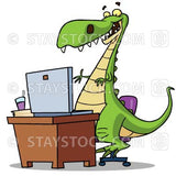 A cartoon dinosaur using a computer on a desk.