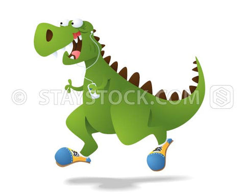 A cartoon dinosaur wearing joggers is running and listening to music with a phone and earbuds.