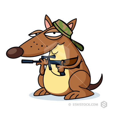 A cartoon dog with gun and cap ready to go hunting.