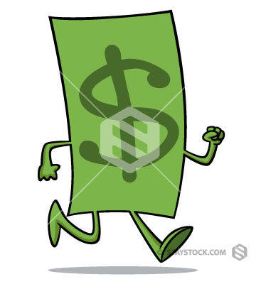 Dollar cartoon with arms and legs is walking.