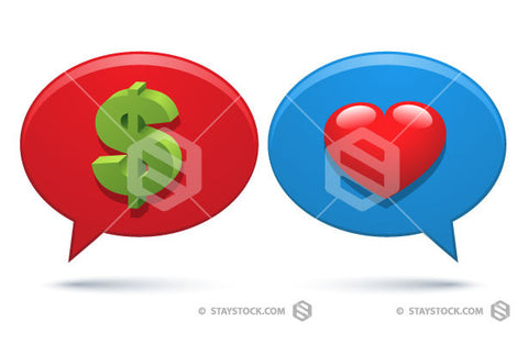 A dollar symbol and love heart on two speech bubbles.