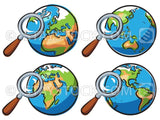 Four cartoon versions of the earth with a magnifying glass over it.