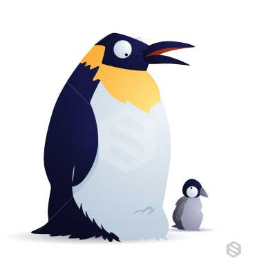 Emperor Penguin parent talking to infant.