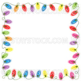 Christmas fairy lights form a square shaped border on a white background.