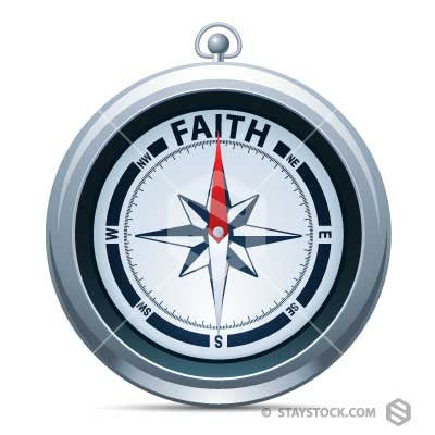 The word Faith at the top of a Compass.