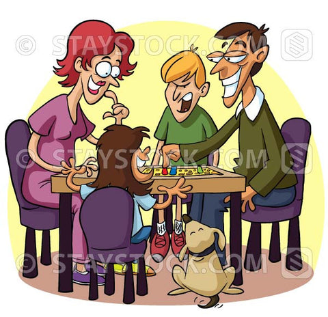 A cartoon of a family playing boardgames.