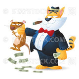 A cartoon fat cat shakes down a rat character for money.