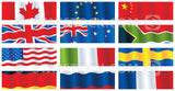 A collection of 12 national flag banners.