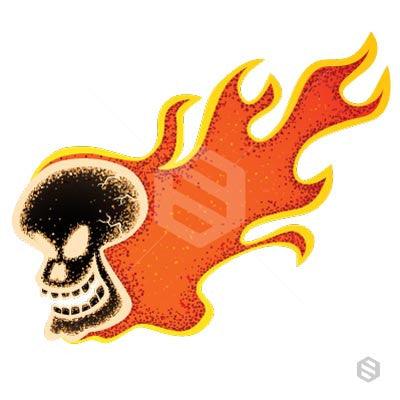 A flaming skull on fire.