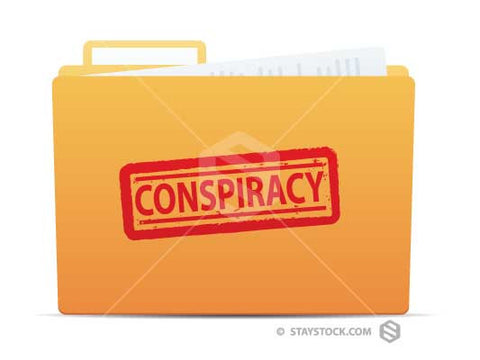 A folder with the word Conspiracy stamped on the front.