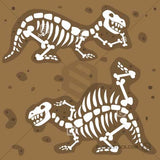 Two dinosaur fossils skeletons buried in mud.