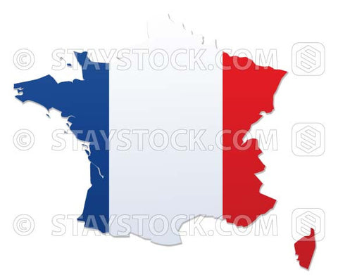 The flag of France mapped onto a map of France.