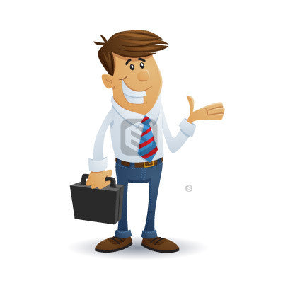 Friendly Businessman cartoon character shows the product.