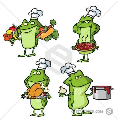 Cartoon Frog Chefs and cooks