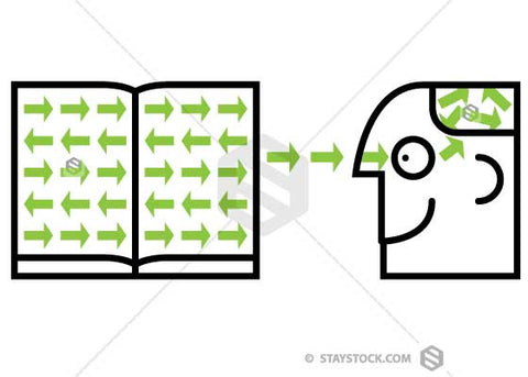 Information arrows moving from the book through the persons eyes and into his brain.