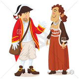 A cartoon couple in Georgian style costumes.