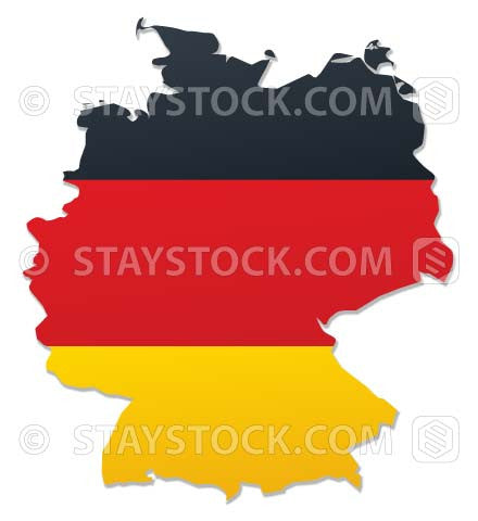 The flag of Germany mapped onto the continent German map.