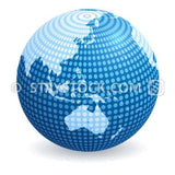 A blue globe made from of dots featuring the Asia.