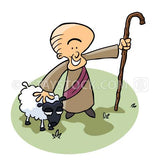 A Good Shepherd cartoon with staff and sheep.