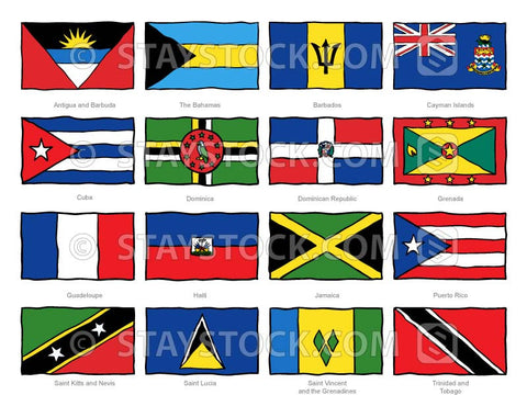 Hand drawn flags of the Caribbean.