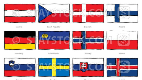 Hand drawn flags of central Europe.