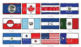 Hand drawn flags of North America.