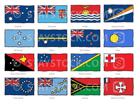 Hand drawn flags of the Oceania region.