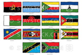 Hand drawn flags of Southern Africa.